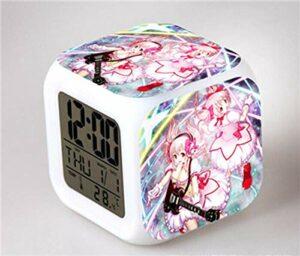 HHCYY Réveil Numérique Enfant Fille Veilleuse Garcon Reveil Matin Wake Up Light Cube Lumineux Digital Alarm Clock Cadeau D'Anniversaire Pour Adultes Chambre Anime Beautiful Girl Alarm Clock (Da163)