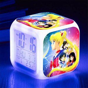 HHCYY Réveil Numérique Enfant Fille Veilleuse Garcon Reveil Matin Wake Up Light Cube Lumineux Digital Alarm Clock Cadeau D'Anniversaire Pour Adultes Chambre Anime Beautiful Girl Alarm Clock (Da209)