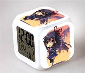 HHCYY Réveil Numérique Enfant Fille Veilleuse Garcon Reveil Matin Wake Up Light Cube Lumineux Digital Alarm Clock Cadeau D'Anniversaire Pour Adultes Chambre Anime Cute Alarm Clock (Da273)