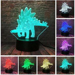 Illusion 3D veilleuse enfants humeur lumière 7 couleurs télécommande et bouton tactile lumière de cadeau de vacances – dinosaure animal