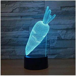 Illusion 3D veilleuse enfants humeur lumière 7 couleurs télécommande et touche tactile lumière cadeau de vacances – carotte