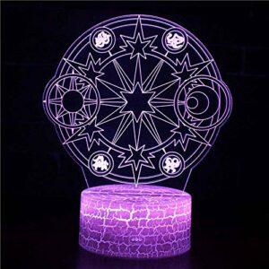 Illusion 3D veilleuse enfants humeur lumière 7 couleurs télécommande et touche tactile lumière cadeau de vacances – cercle magique
