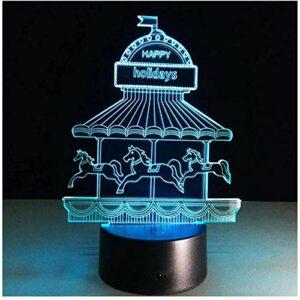 Illusion 3D veilleuse enfants humeur lumière 7 couleurs télécommande et touche tactile lumière cadeau de vacances – Happy Holiday
