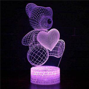 Illusion 3D veilleuse enfants humeur lumière 7 couleurs télécommande et touche tactile lumière de cadeau de vacances – dessin animé ours en peluche