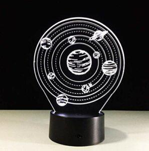 Illusion d'optique 3D veilleuse lampe d'ambiance forme de l'univers USB LED lampe de table de bureau 7 couleurs clignotant interrupteur tactile chambre décoration éclairage pour enfants cadeau de