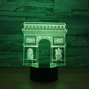 Illusion d'optique 3D veilleuse lampe d'ambiance porte de la ville forme USB LED lampe de table de bureau 7 couleurs clignotant interrupteur tactile chambre décoration éclairage pour enfants cade
