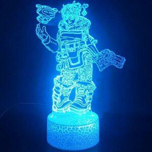 Jeu de personnage de dessin animé lampe de table 3D base fissurée LED veilleuse multicolore cadeau de décoration de Noël