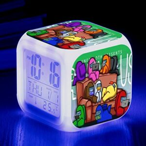 JOAN Among Réveil américain – 7 couleurs changeantes, réveil numérique à LED, avec date et température pour étudiants/garçons/filles