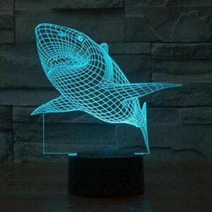Lampe 3D LED veilleuse Shark 7 couleur changeante USB lampe de table décoration de la maison meilleur cadeau pour les enfants