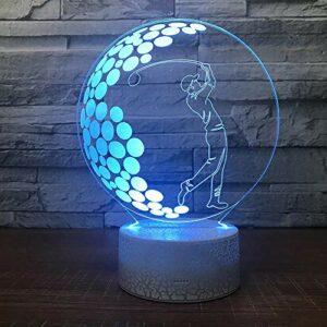 Lampe de table de golf de loisirs créative lampe décorative de base de fissure créative acrylique multicolore veilleuse LED lampe de table multicolore