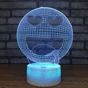 Lampe Illusion 3D LED veilleuse drôle Smiley alimenté par USB 7 couleurs clignotant interrupteur tactile chambre décoration éclairage pour enfants cadeau de noël