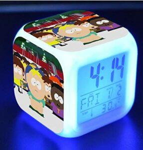 LED à changement de couleur horloge numérique jouet de dessin animé réveil pour enfants nuit réveil lumière lumineux multifonctionnel affichage cadeau étudiant 12
