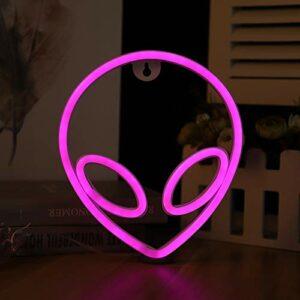 LED Alien Néon Enseignes lumineuses, Alimenté par Batterie ou USB (Batterie Non Incluse), Applique Murale LED Alien pour la Décoration de la Chambre des Enfants, Veilleuse LED Alien