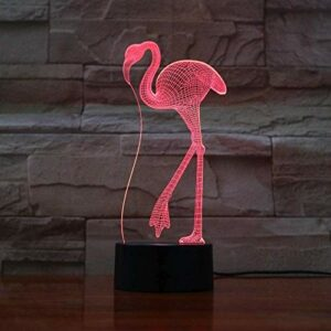 Lumière 3D LED veilleuse Flamingo 7 couleur changeante USB lampe de table décoration de la maison meilleur cadeau pour les enfants