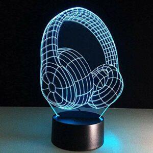 Modèle De Casque 3D Illusion 3D Veilleuse 7 Lumières Décoratives À Changement De Couleur – Cadeau Parfait Pour Les Enfants Et La Décoration De La Chambre