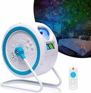 Projecteur d'étoile, 2 dans 1 projecteur laser de lumière de nuit avec la galaxie de nébuleuse de LED pour l'éclairage de home theater, parties, décoration, cadeau intégré haut-parleur de musique