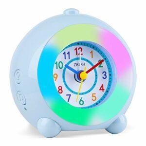 Réveil Enfants Analogique,Horloge Sans tic-tac Complètement Silencieuse avec 7 Couleurs de Lumière et Fonction de Répétition 6 Musique de Réveil Volume Réglable pour Horloge de Bureau de Chevet de