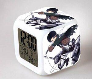 Réveil pour enfants Animation japonaise Réveil numérique clignotant à 7 couleurs pour veilleuse pour enfants Horloge de chambre à coucher Rose