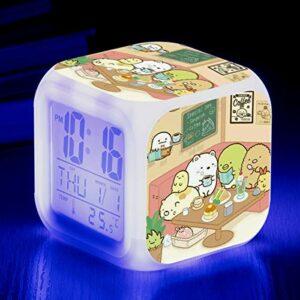Réveil pour enfants coin jouet de dessin animé biologique LED horloge numérique à changement de couleur pour réveiller un réveil électronique lumineux SeeChart12