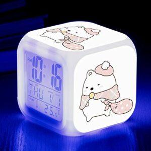 Réveil pour enfants coin jouet de dessin animé biologique LED horloge numérique à changement de couleur pour réveiller un réveil électronique lumineux SeeChart3