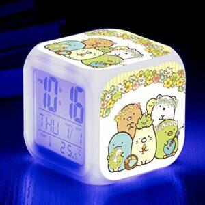 Réveil pour enfants coin jouet de dessin animé biologique LED horloge numérique à changement de couleur pour réveiller un réveil électronique lumineux SeeChart7