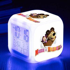 Réveil pour enfants LED de dessin animé mignon, réveil numérique de dessin animé, jouet pour enfants, réveil imprimé Masha, horloge lumineuse décorative SeeChart1