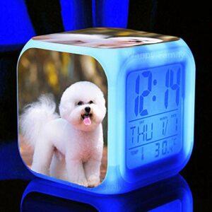 Réveil pour enfants mignon Animal chien réveil Led 7 couleurs clignotant électronique numérique réveil enfant cadeau chevet réveil lumière argent