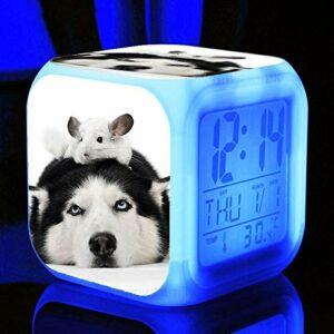 Réveil pour enfants mignon Animal chien réveil Led 7 couleurs clignotant électronique numérique réveil enfant cadeau chevet réveil marron clair