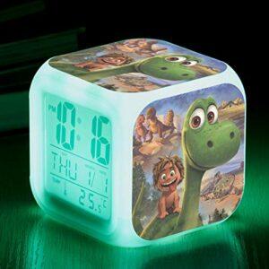 Réveil pour enfants, réveil mignon de dinosaure, veilleuse de chambre, réveil lumineux, horloge à affichage multifonction LED, alarme électronique de cadeau d'anniversaire pour enfants SeeChart6