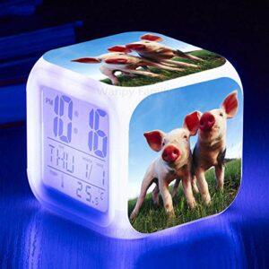 Réveil pour enfants très mignon cochon réveil Led couleur changeante réveil numérique enfants cadeaux multifonctionnel capteur tactile horloge blanc