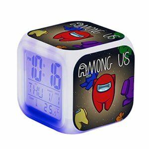 Réveils Numériques pour Enfants, Dessin animé Réveil Chevet Veilleuse La Musique Réveillez-Vous Muet Bureau Cadeaux, Cube LCD LED de nuit brillante, pour le bureau à domicile – A