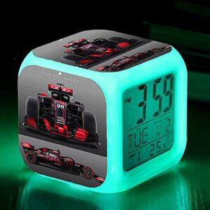 Réveils numériques pour les filles Course de Formule 1 Cube LED de nuit brillante avec enfants légers Réveillez-vous l'horloge de chevet cadeau de Noël