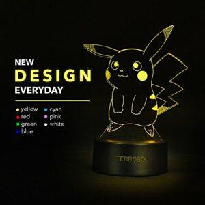 Terrosol Veilleuse 3D Pokemon Pikachu – Cadeaux Pokémon – Lampe LED 3D – Lampe acrylique – 3D Pokémon Pikachu – Lumière LED illusion d'optique