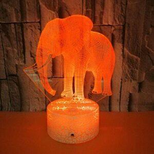 Veilleuse 3D Jouet Cadeaux pour Enfants Éléphant Animal Décoratif LED Lampe De Table De Bureau De Chevet 3D Illusion Light pour Garçons Vacances Cadeau D'anniversaire De Noël – Alimentation USB /