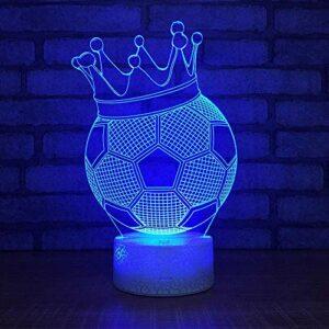 Veilleuse 3D lampe de football 7 couleurs changeantes LED Table de bureau veilleuse avec télécommande Illusion d'optique enfants filles garçons décor à la maison fête