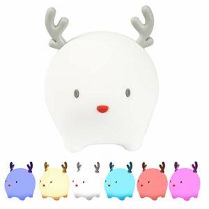 Veilleuse pour enfants Lampe cerf pour enfants, lumière à intensité variable avec 6 couleurs changées en touchant, lampe rechargeable USB pour bébé et tout-petits cadeau mignon
