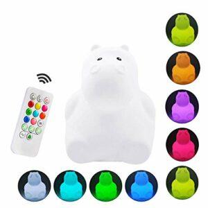 Veilleuse pour enfants mignon capteur tactile multicolore coque en silicone LED veilleuse contrôle du robinet USB charge lumière avec télécommande enfants cadeau d'anniversaire de Noël