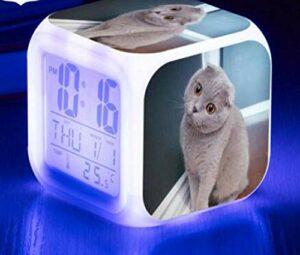 WH-PORP 7 couleurs clignotantes horloge numérique chat pour animaux de compagnie LED réveil vaisseau spatial animal
