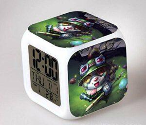 WH-PORP Réveil numérique clignotant à 7 couleurs à LED d'anime japonais pour horloge de chambre à coucher pour enfants