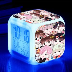 Yangoo Réveil Numérique Horloge de Chevet avec la Veilleuse LED Affichage de la 12H/24H Temps Horloge de Chevet Cadeaux Anniversaire Noël,B