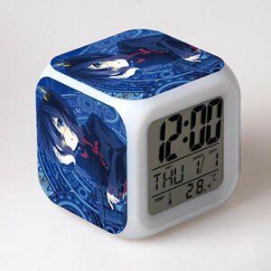 Yangoo Réveil Numérique Horloge de Chevet avec la Veilleuse LED Affichage de la 12H/24H Temps Horloge de Chevet Cadeaux Anniversaire Noël,H