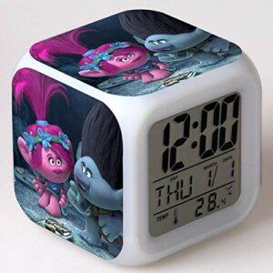 Yyoutop Réveil Enfants Dessin animé Couleur Changeante veilleuse Horloge numérique Horloge de Bureau électronique