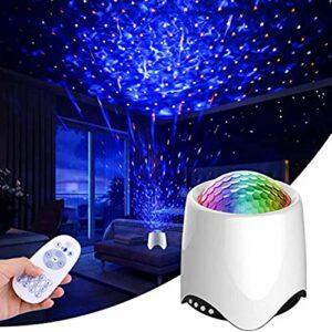 ZINE Projecteur Starry Sky, projecteur LED Sky 3 en 1 et 14 Types d'effets de Projection, Haut-parleurs musicaux, éclairage Sky Star, projecteur pour Cadeaux de Noël dans la Chambre