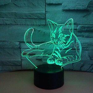 7 couleurs USB chambre décoration de la maison mignon chat 3D veilleuse LED lampe de table animal lampe de chevet fête enfants jouet cadeau lampe