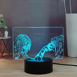 Anime Naruto Uchiha Itachi and Sasuke Sharingan Veilleuse LED 3D pour Chambre, 16 couleurs Télécommande Smart Touch Décor de lampe de table de bureau pour Enfants, garçons, adolescents