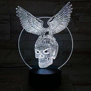 Barre de cadeau d'Halloween Lampe de table LED veilleuse 3D avec 7 variations de couleurs Ailes de crâne d'illusion acrylique Lumière atmosphérique