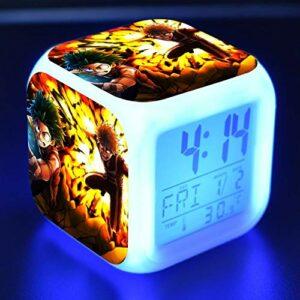 BMSYTY Académie réveil LED lumière 7 Couleurs changeantes Affichage LED réveil réveil Table carrée réveil