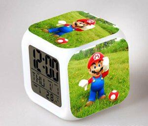 BMSYTY Veilleuse LED 7 Couleurs Scintillantes Réveil numérique Horloge de Chambre Réveil Rainbow Dash Réveil