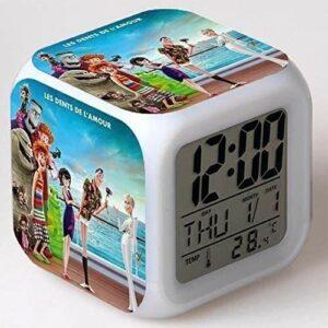 CZWYF Famille Colorful Change-Vling-Rall Horloge LED Quad Horloge Cadeau créatif pour Enfants Petit réveil □, □