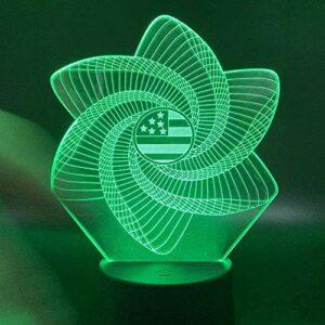 Diaporama 3D LED veilleuse drapeau américain tempête dans la chambre décoration de batterie unique Meilleurs cadeaux de vacances d'anniversaire pour enfants